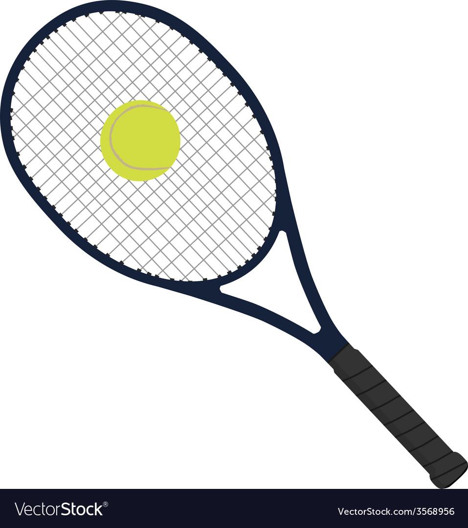 Tennis racket with tennis ball vector