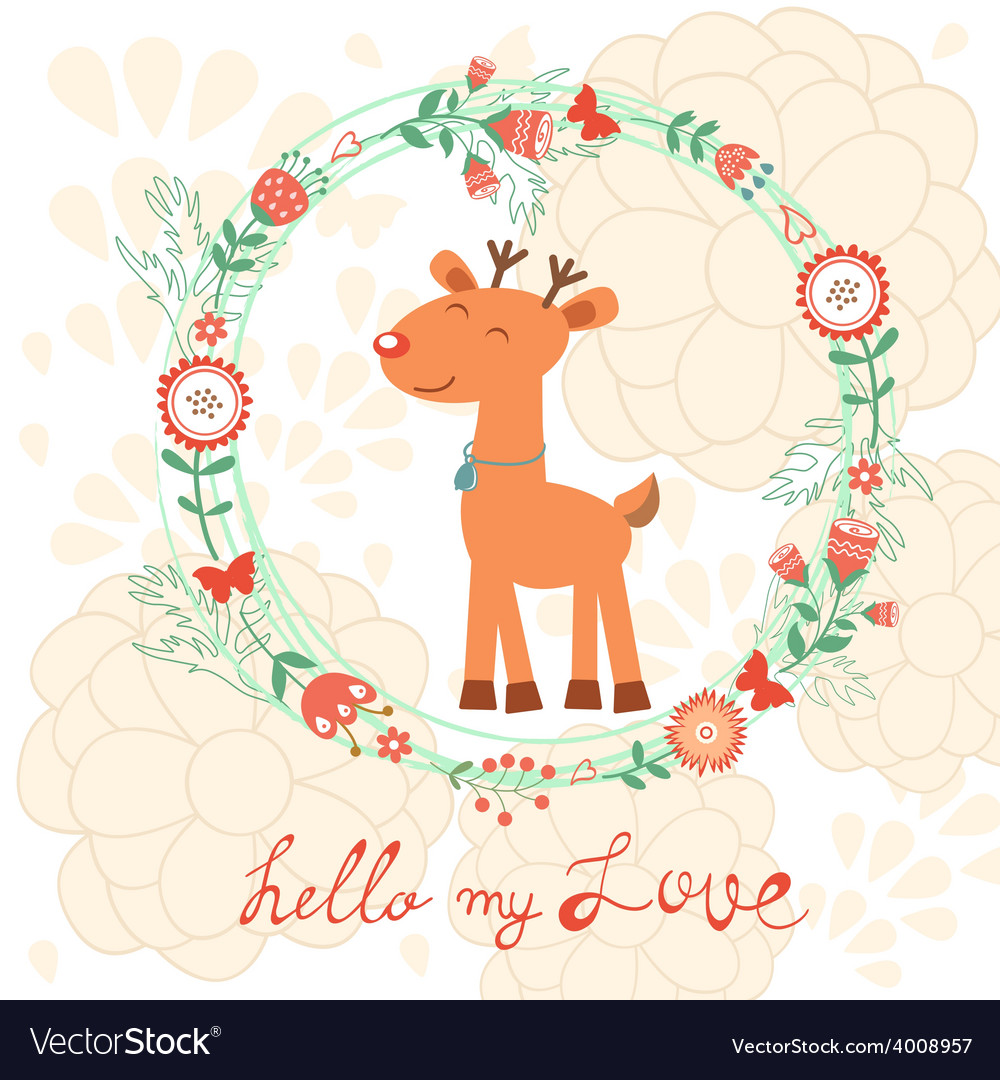 Hello my love card with deer vector