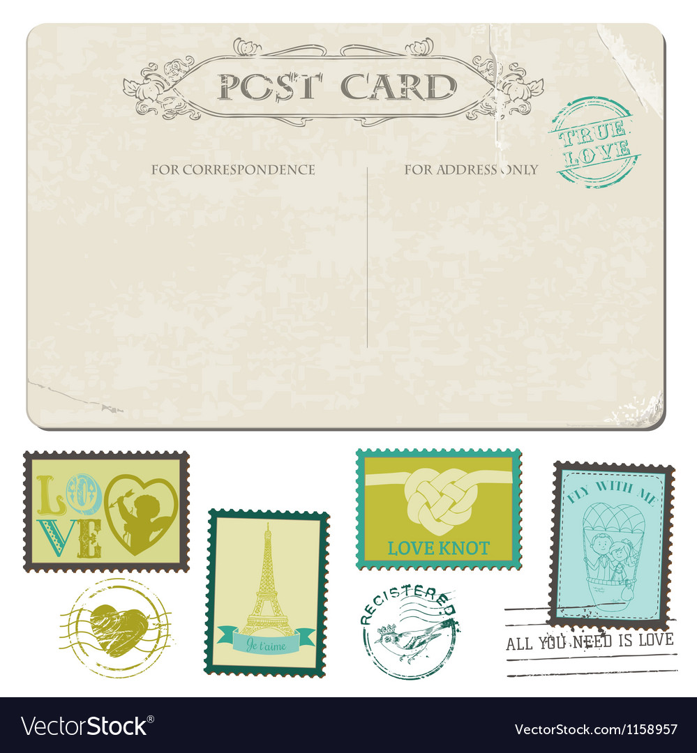 Vintage postcard and postage stamps vector