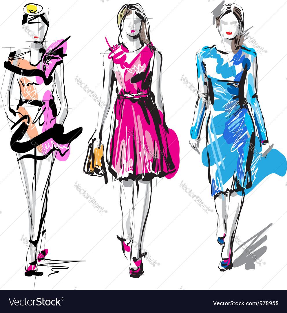 Artistic fashion sketches vector
