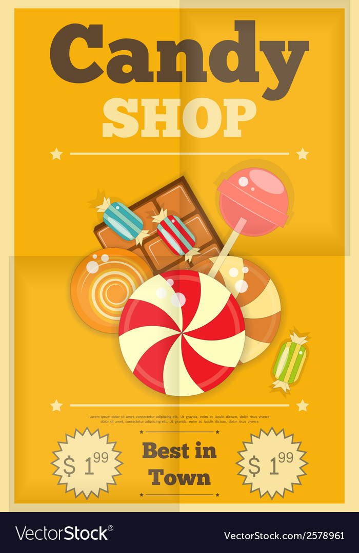 19 candy shop yellow vector