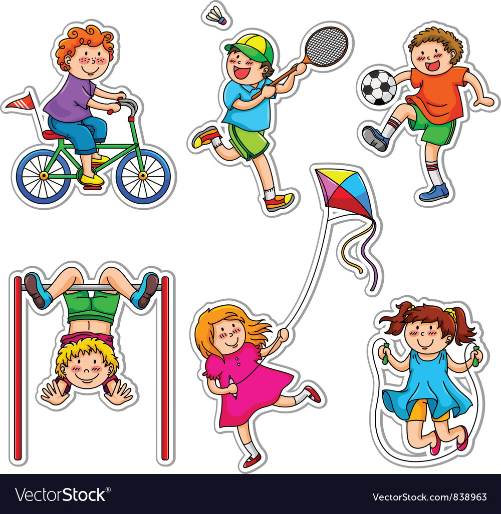 Active kids vector