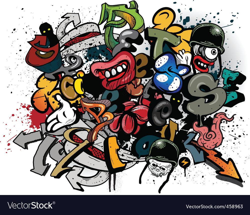 Graffiti elements explosion vector