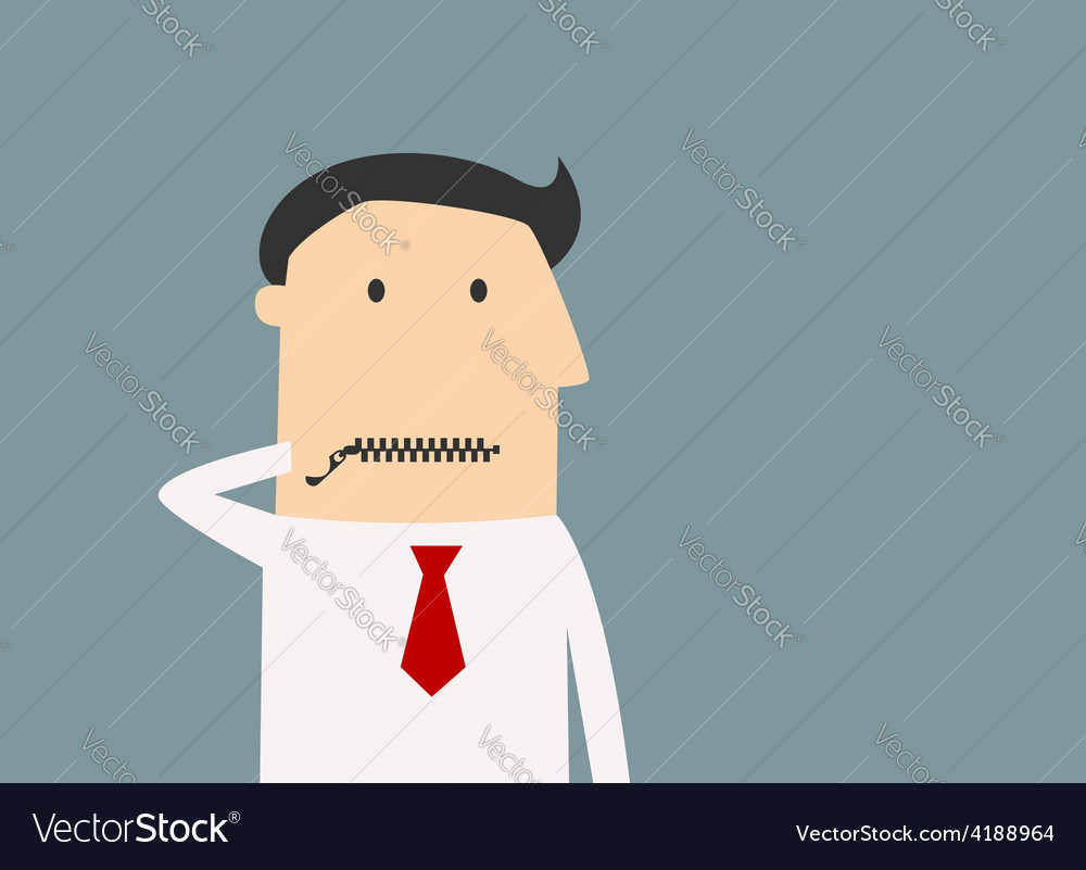 Cartoon businessman zipping his mouth vector