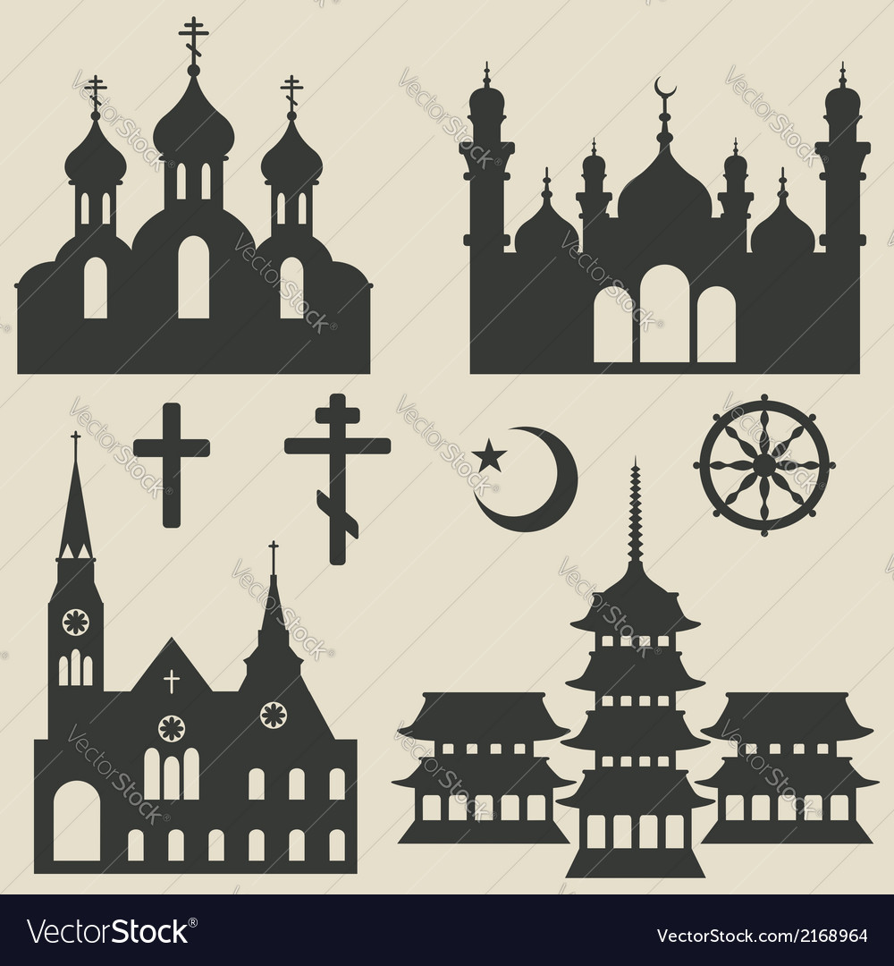 Religious buildings set and symbol vector