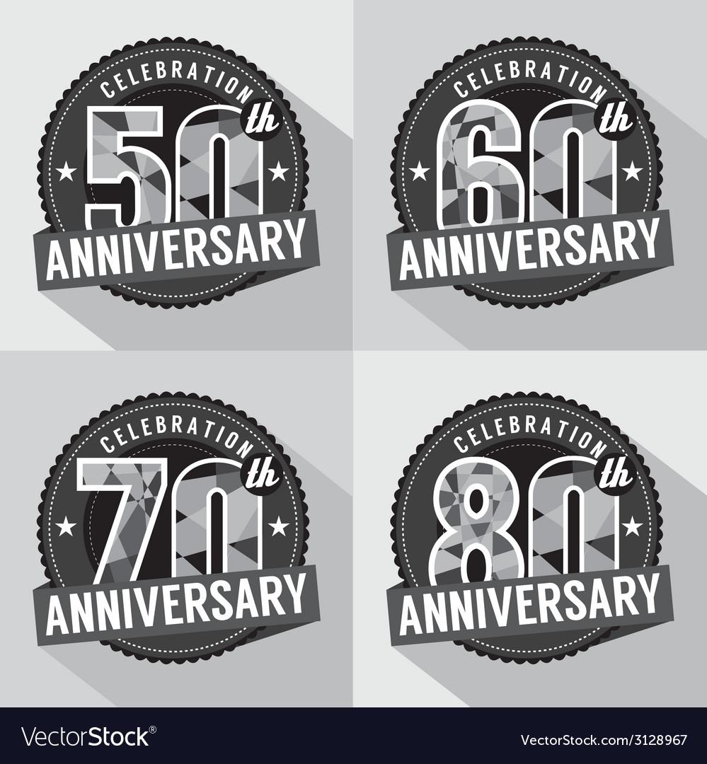 Set of anniversary celebration design vector