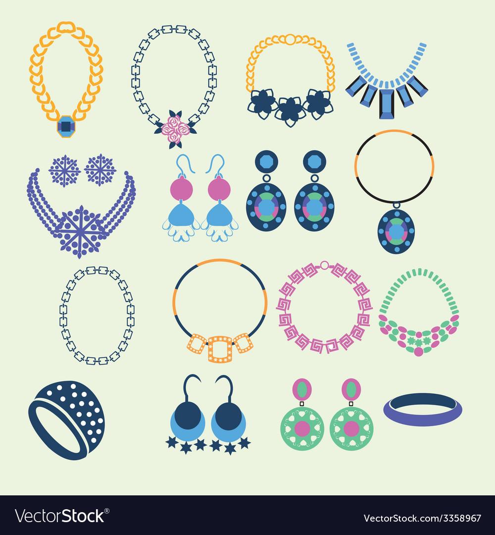 Set of jewelry icons - vector