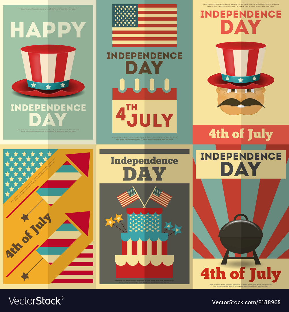 Independence-posters-set-vector
