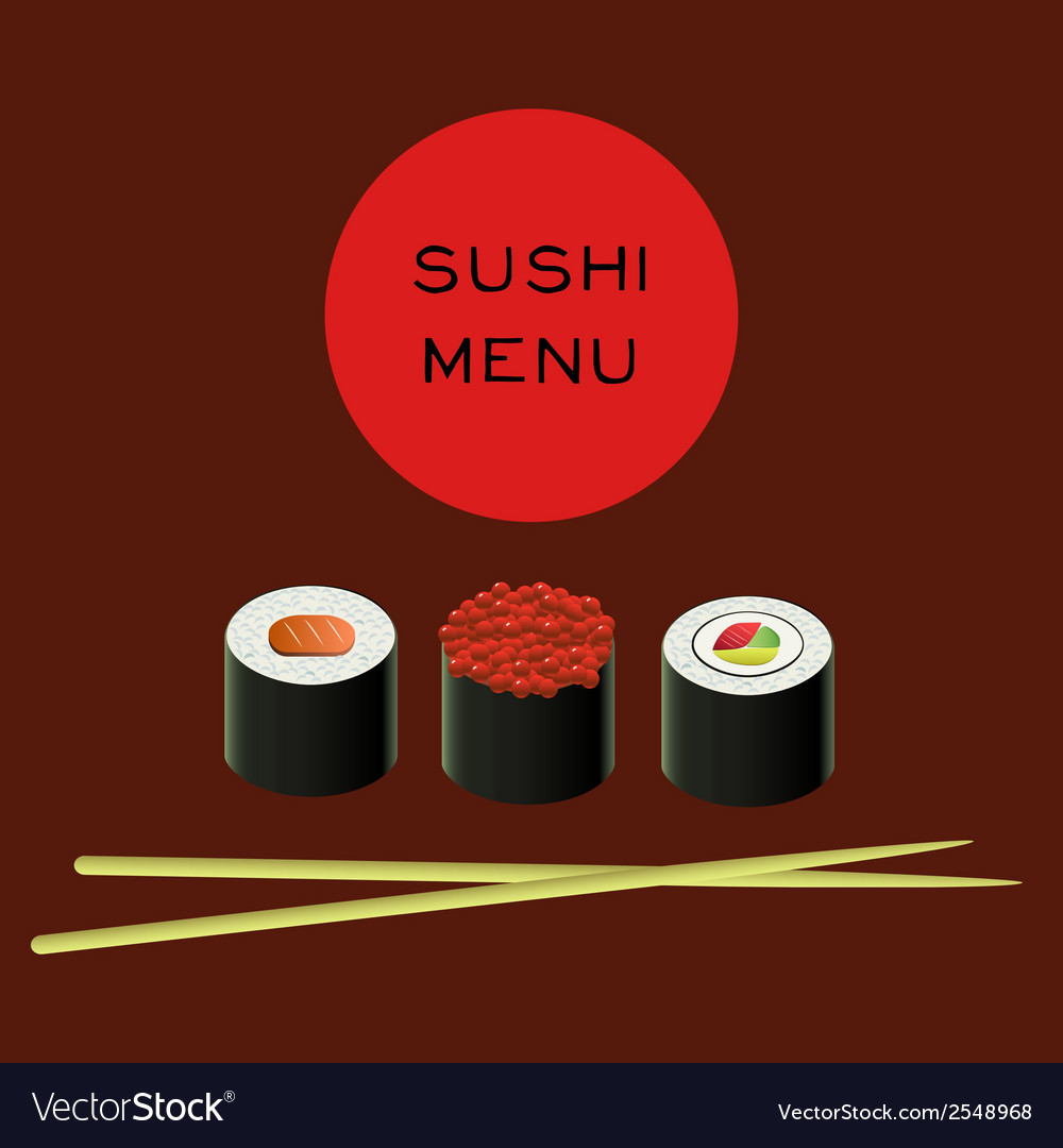 Sushi bar menu template vector