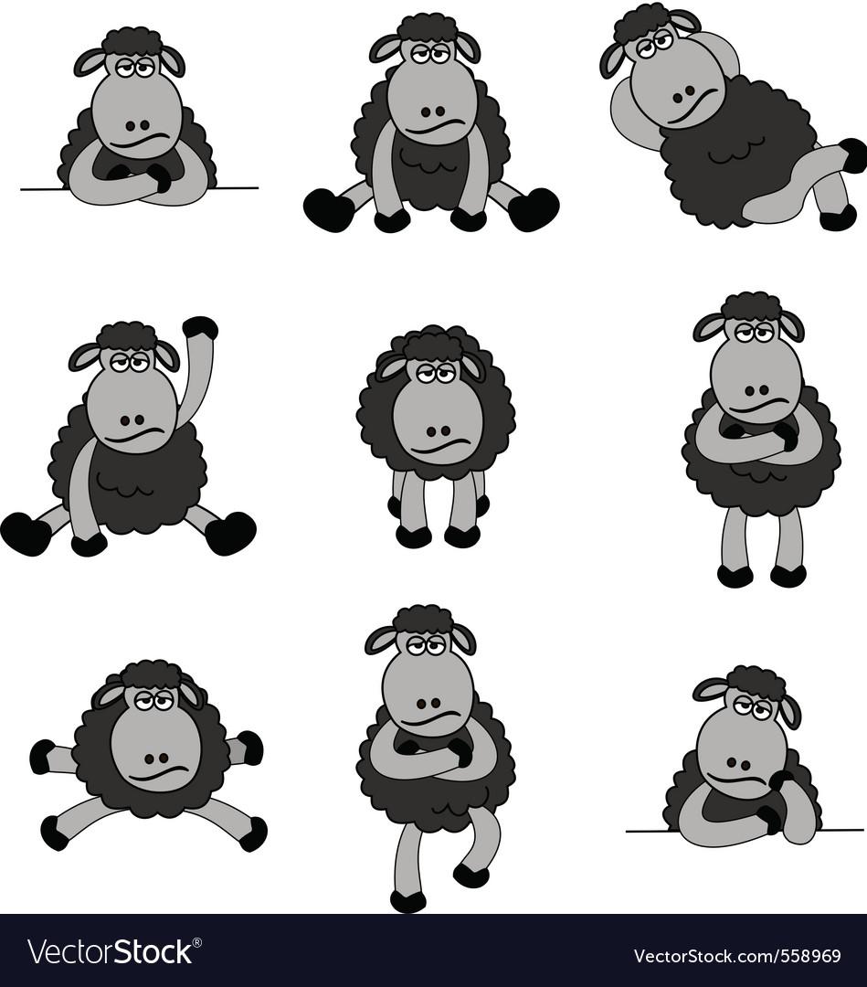 Black sheep set vector