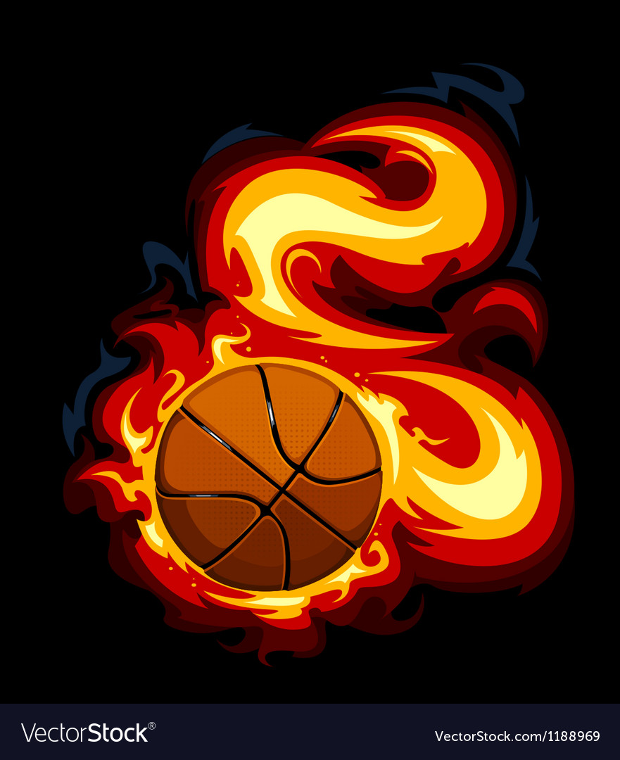 Burning basketball vector