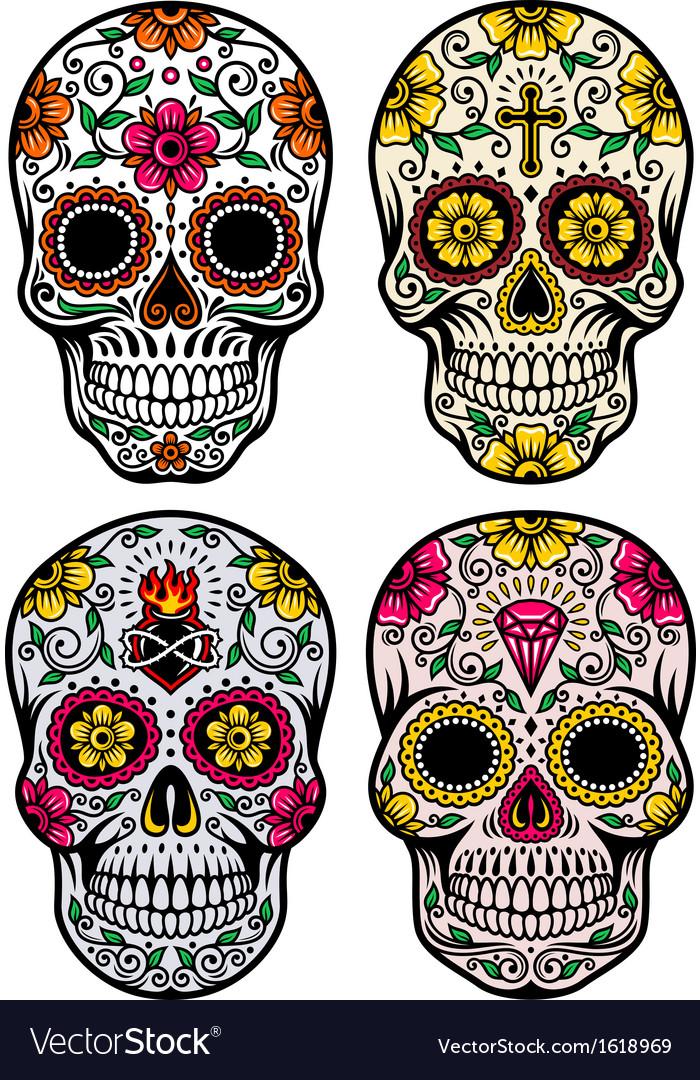 Day of the dead skull set vector