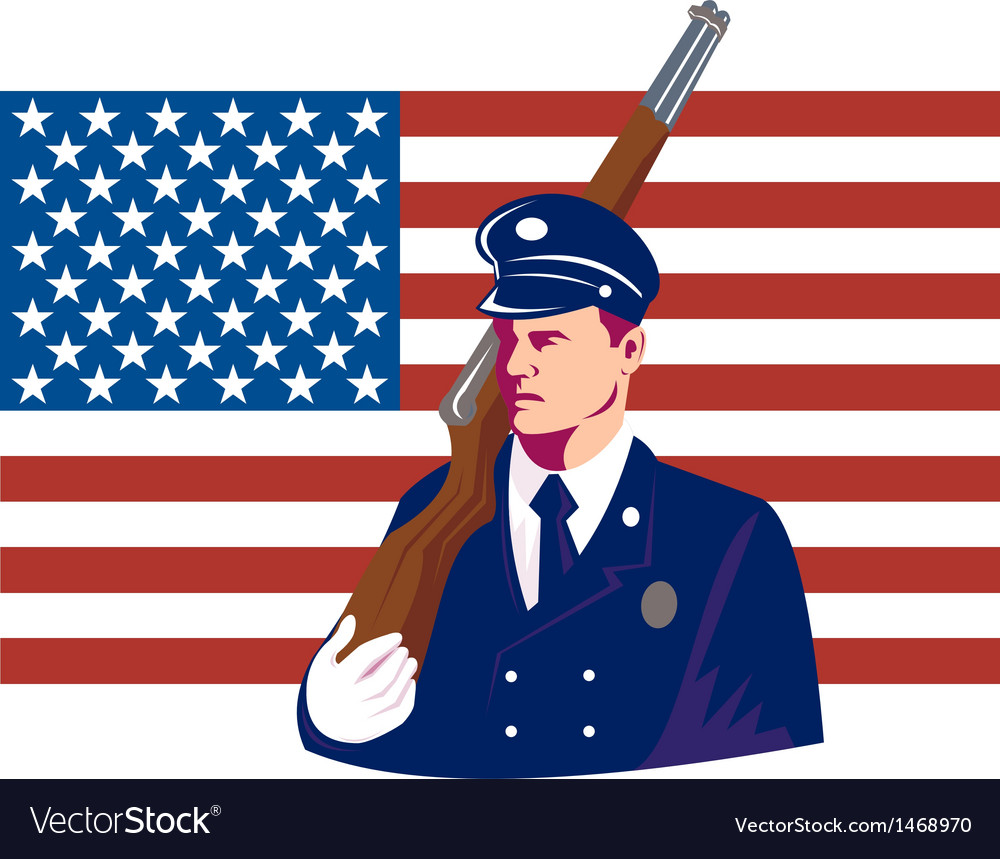 American soldier stars and stripes flag vector
