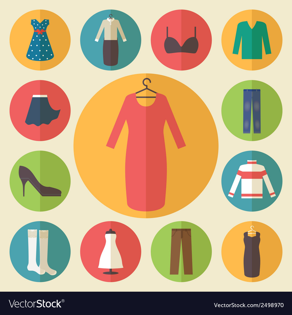 Woman clothing icons set vector