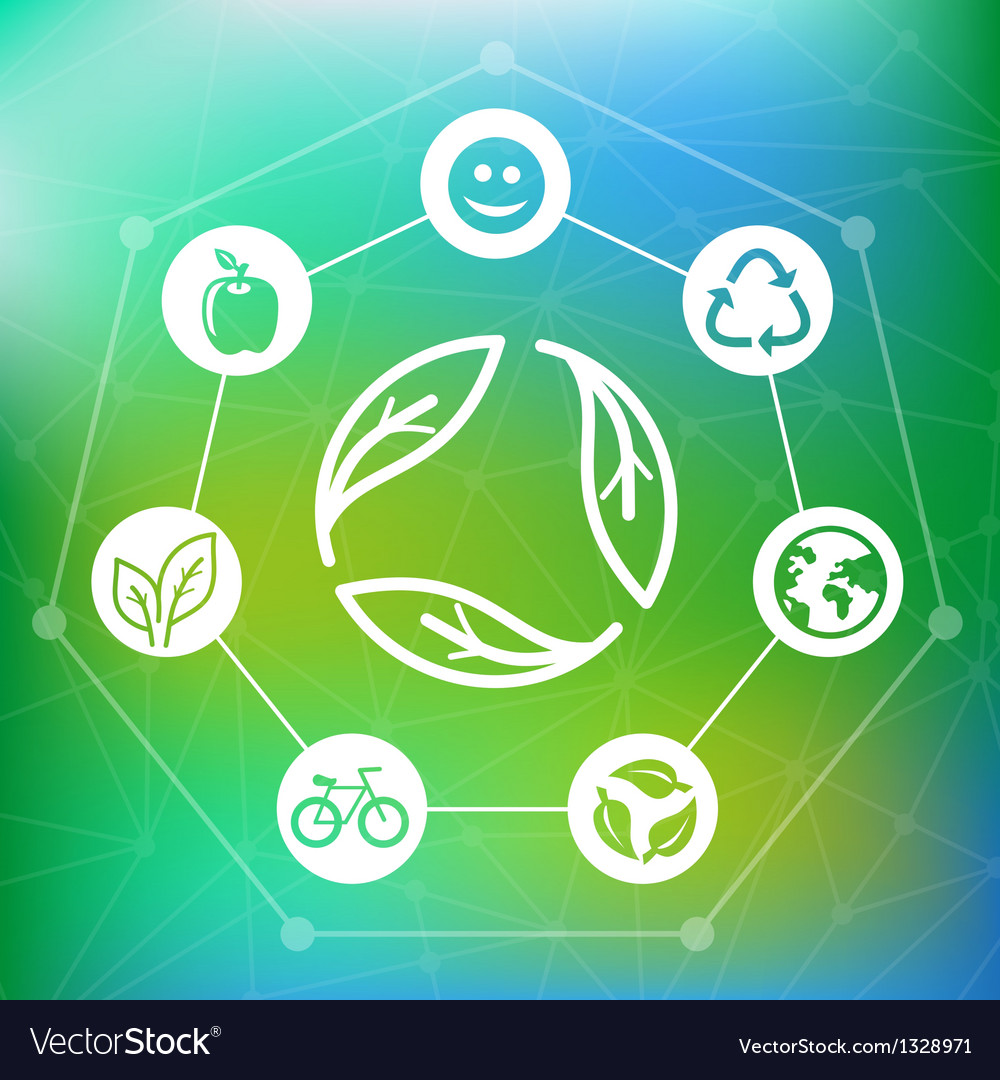 Ecology concept with recycle emblem vector