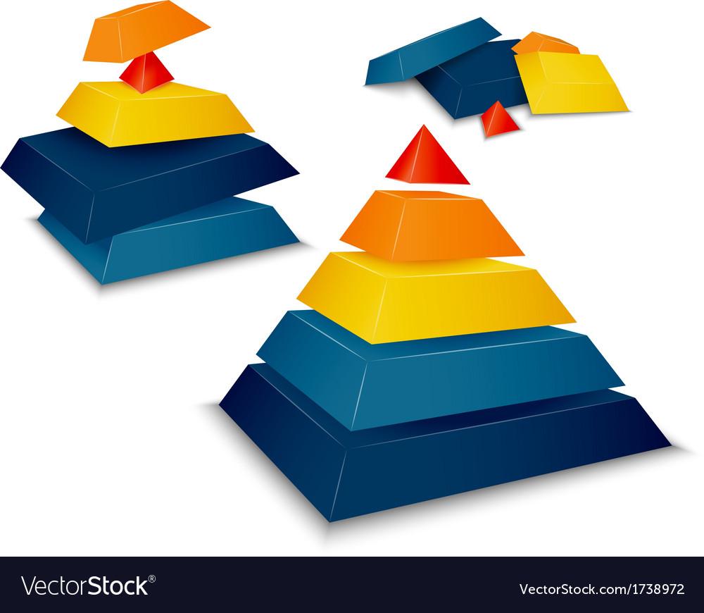 Pyramid assembled and disassembled vector