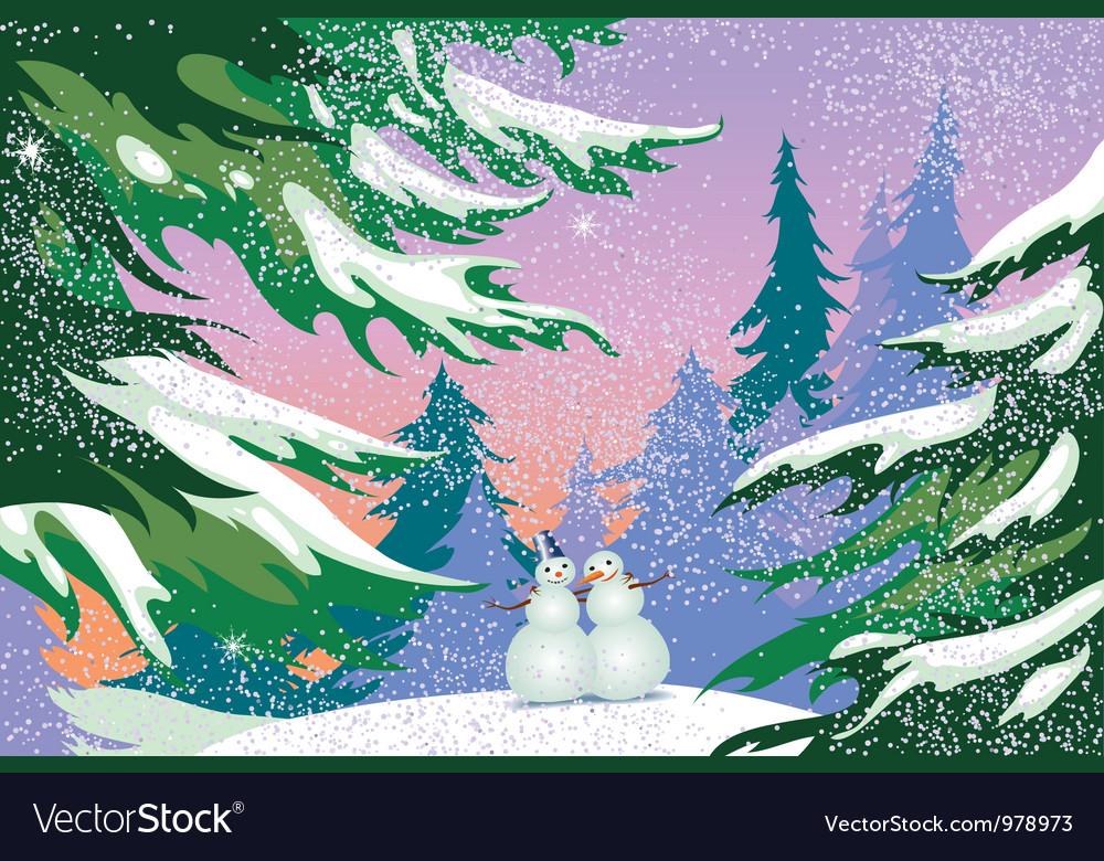 Christmas card snowmen forest vector