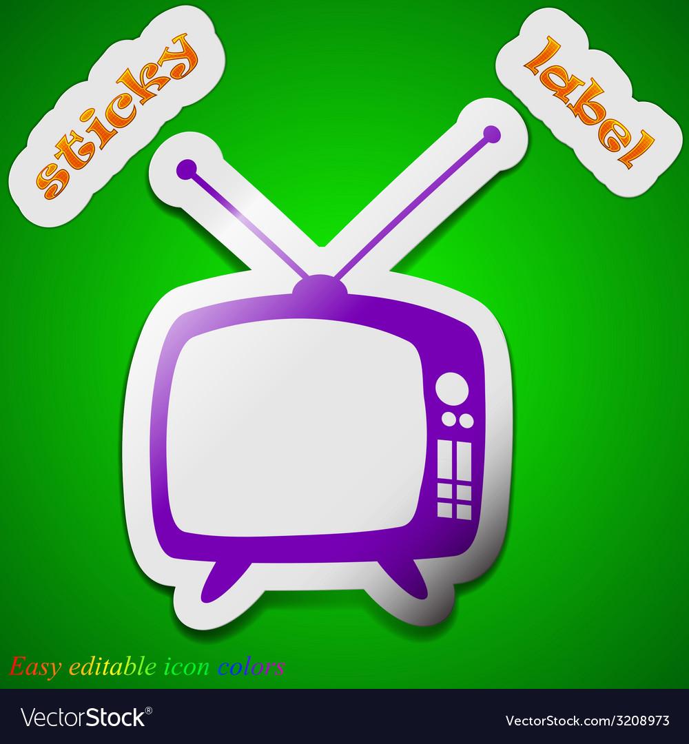 Retro tv mode icon sign symbol chic colored sticky vector