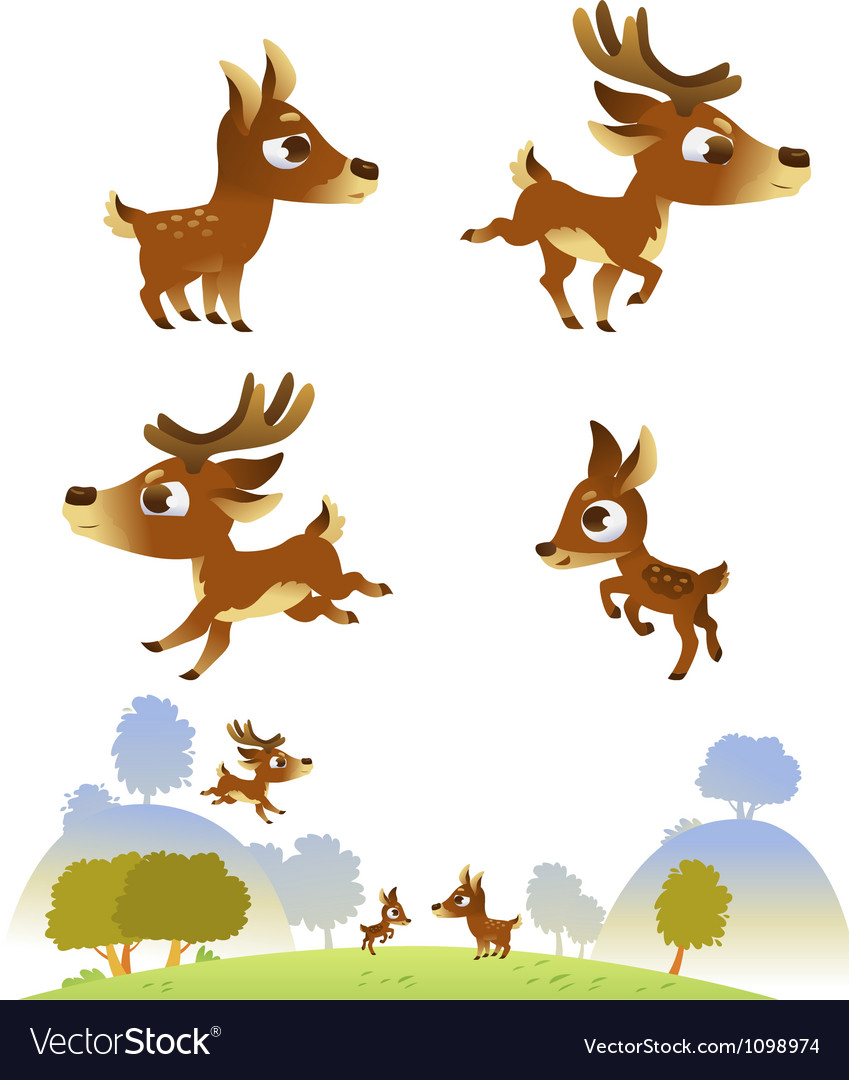 Deer family isolated on white background vector