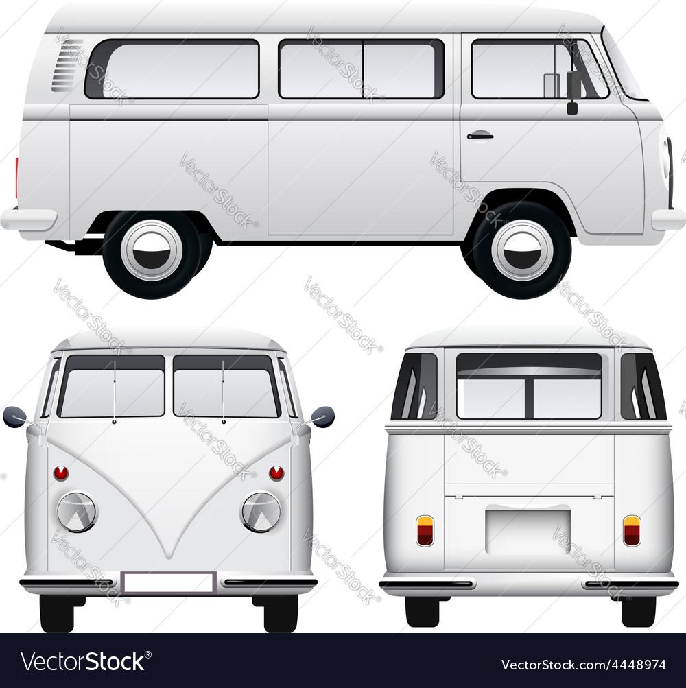Retro white van vector