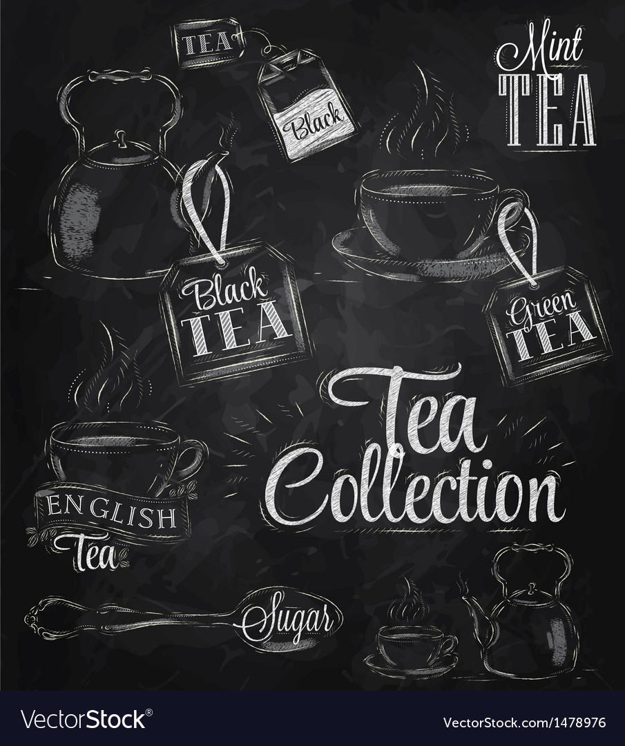 Set tea collection chalk vector