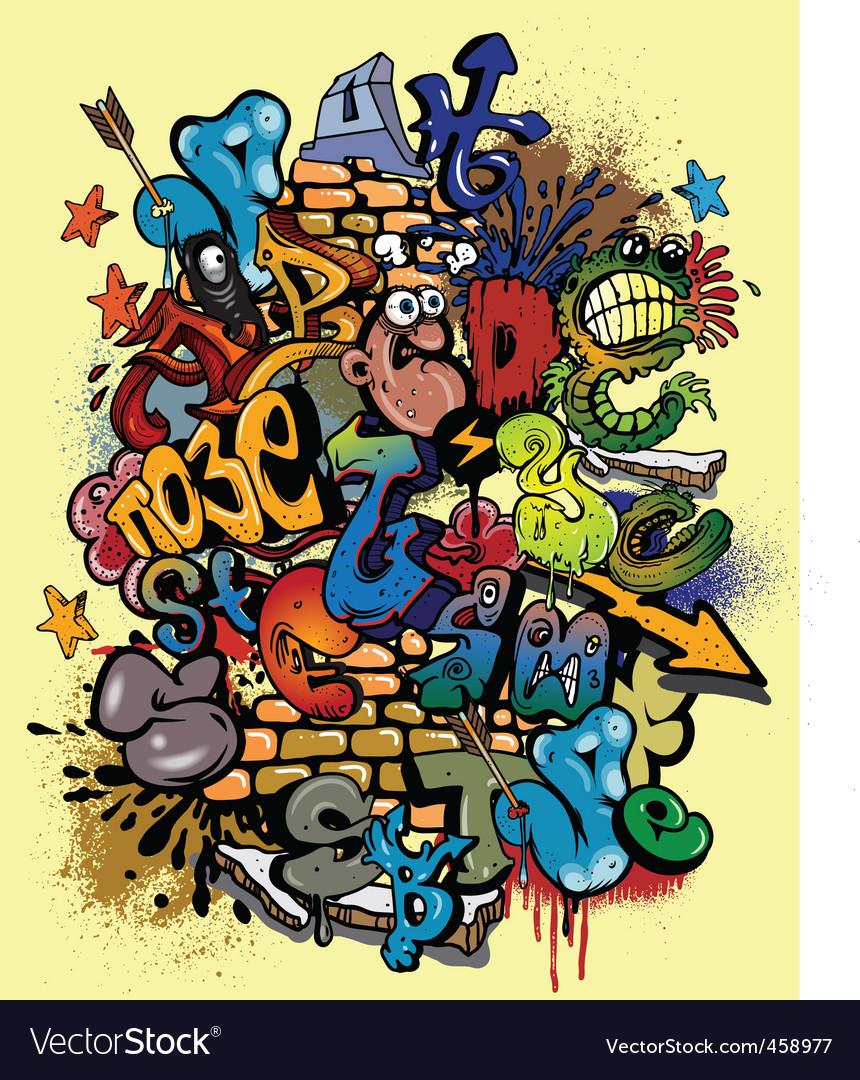 Graffiti alphabet vector