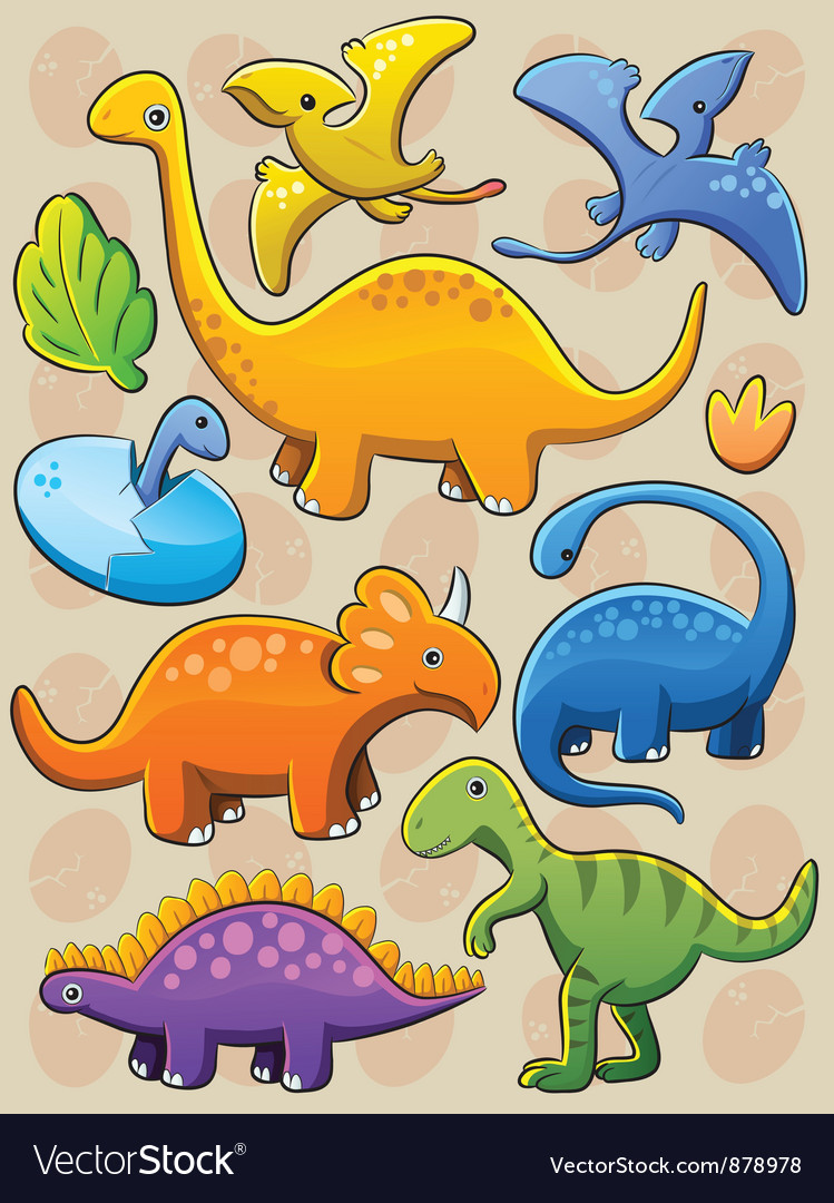 Dinosaurs collection vector