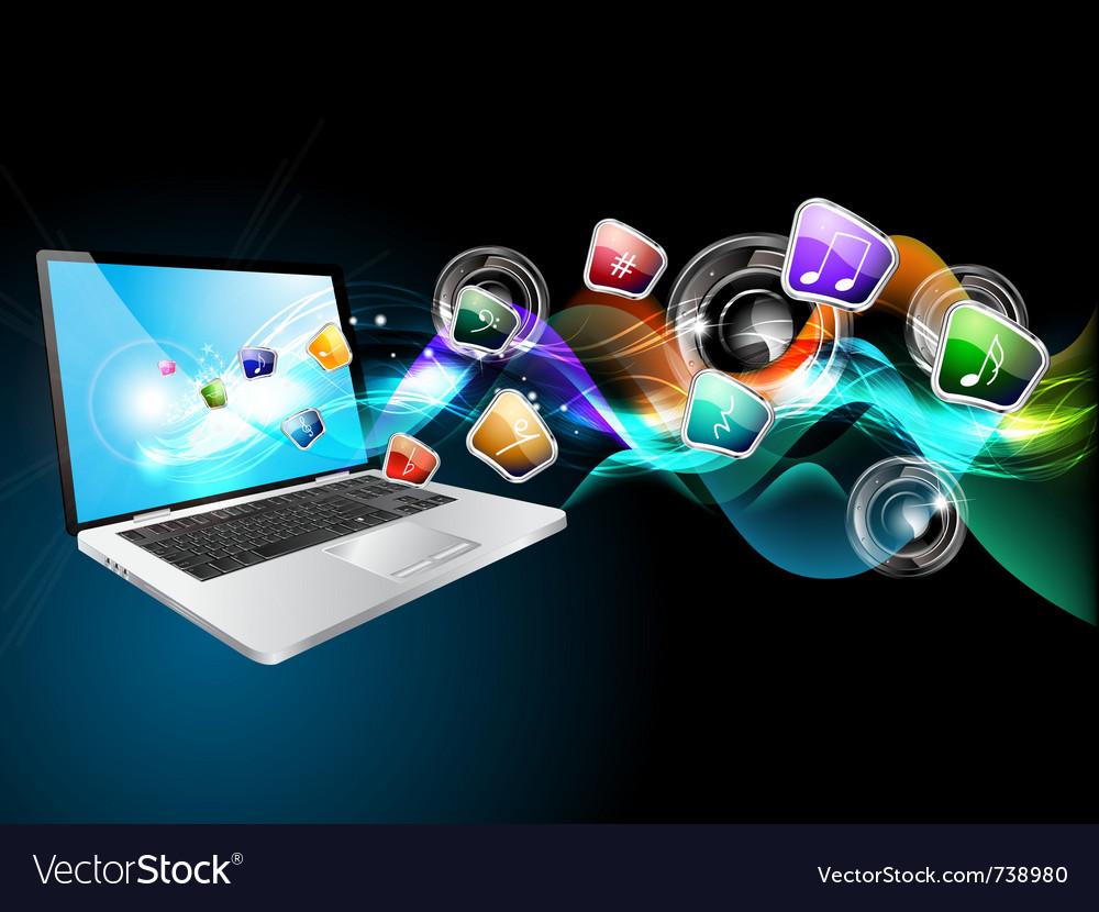 Laptop music vector