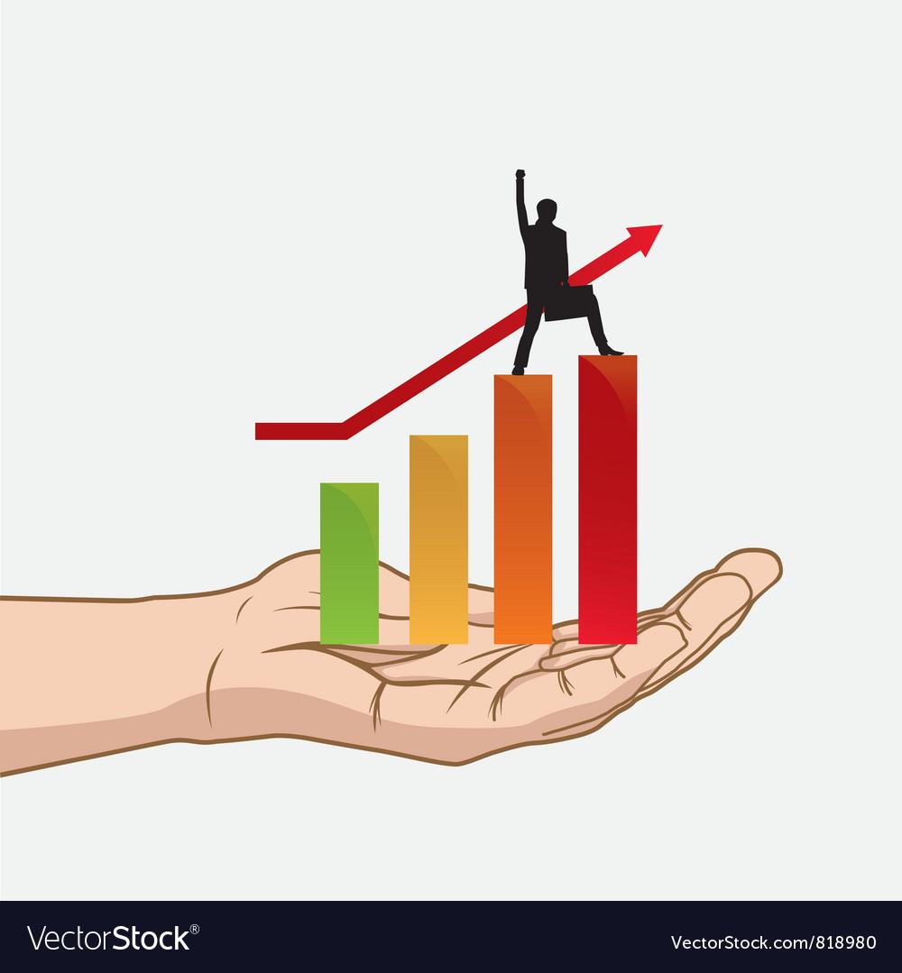 Success in hand vector