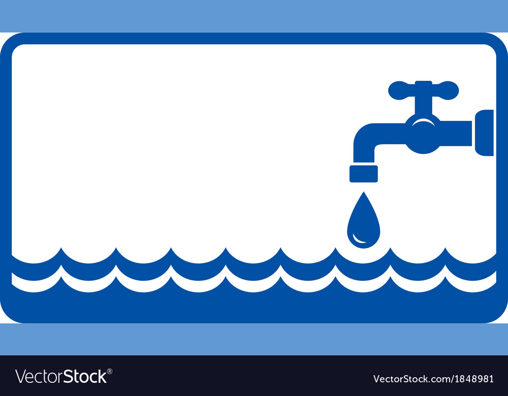 Background with water wave and tap vector