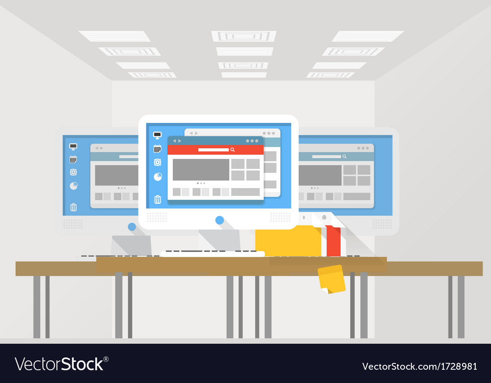 Group of modern computer workstations vector