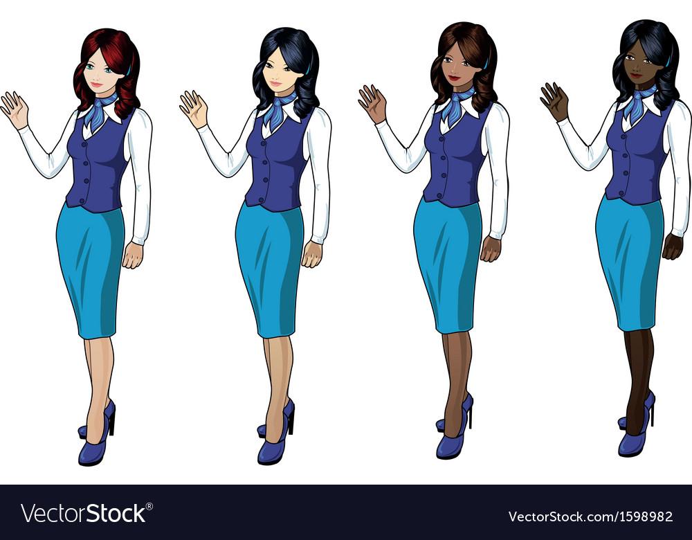Air hostess 3 vector