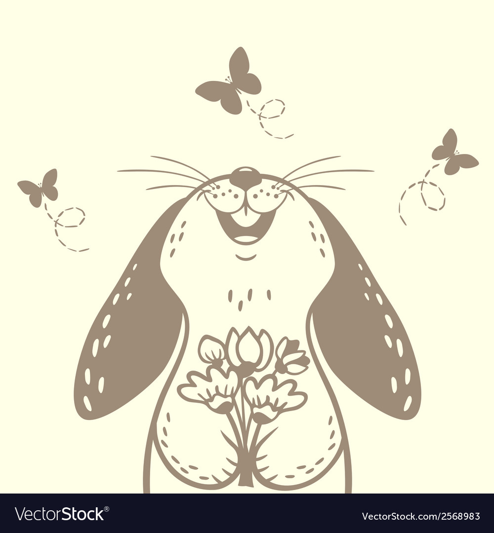 Bunny cute silhouette vector