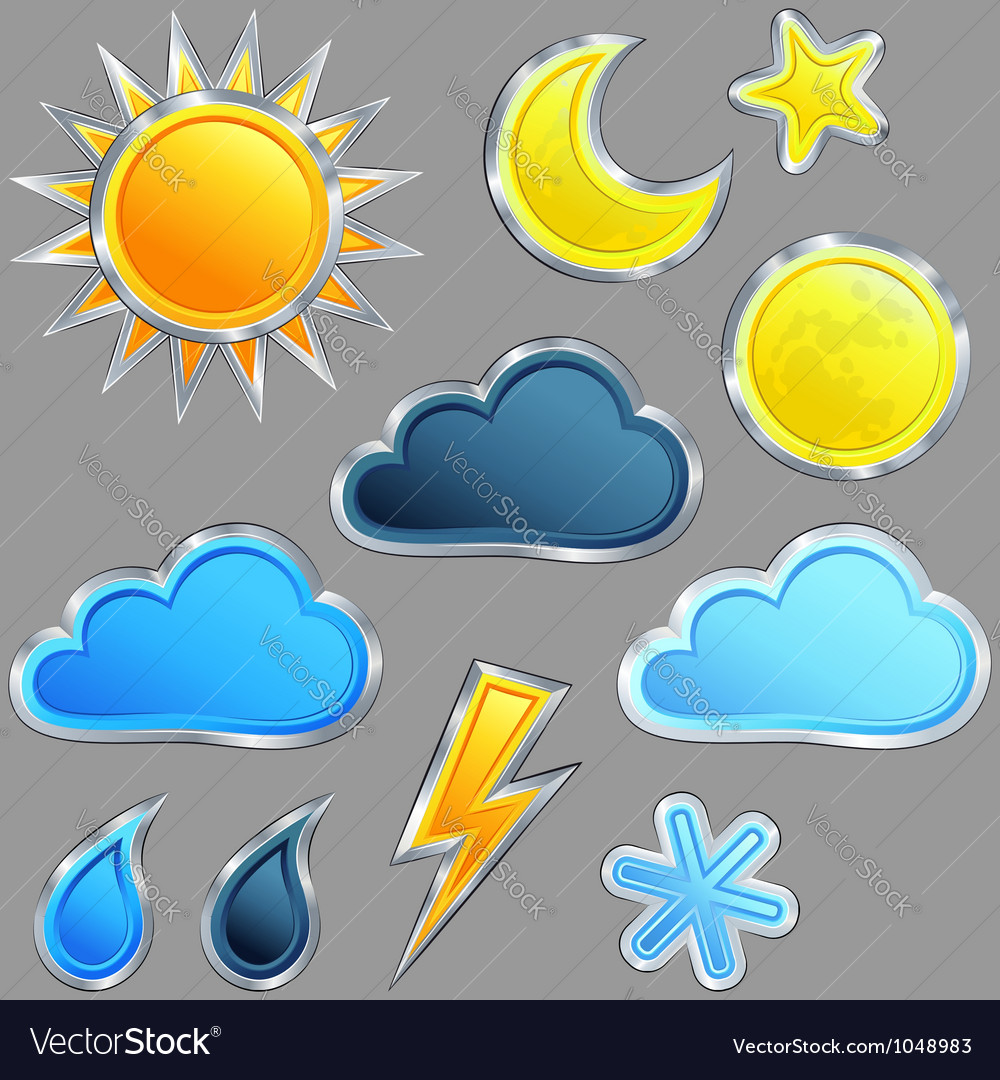 Set weather icon vector