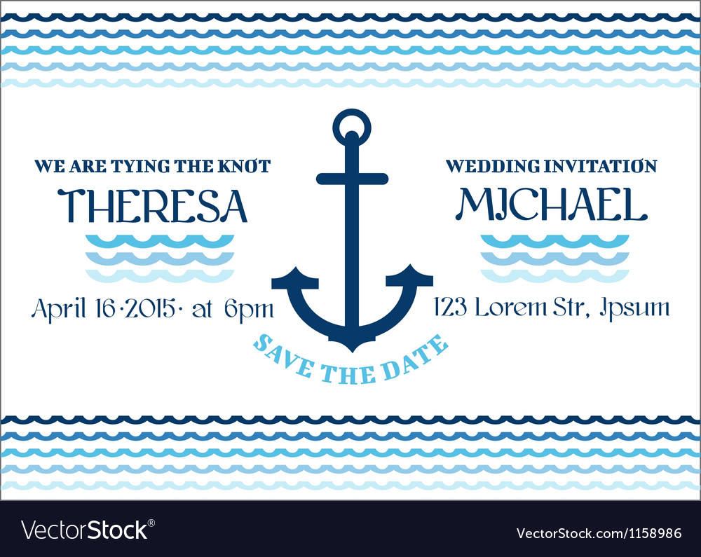 Wedding marine invitation card vector