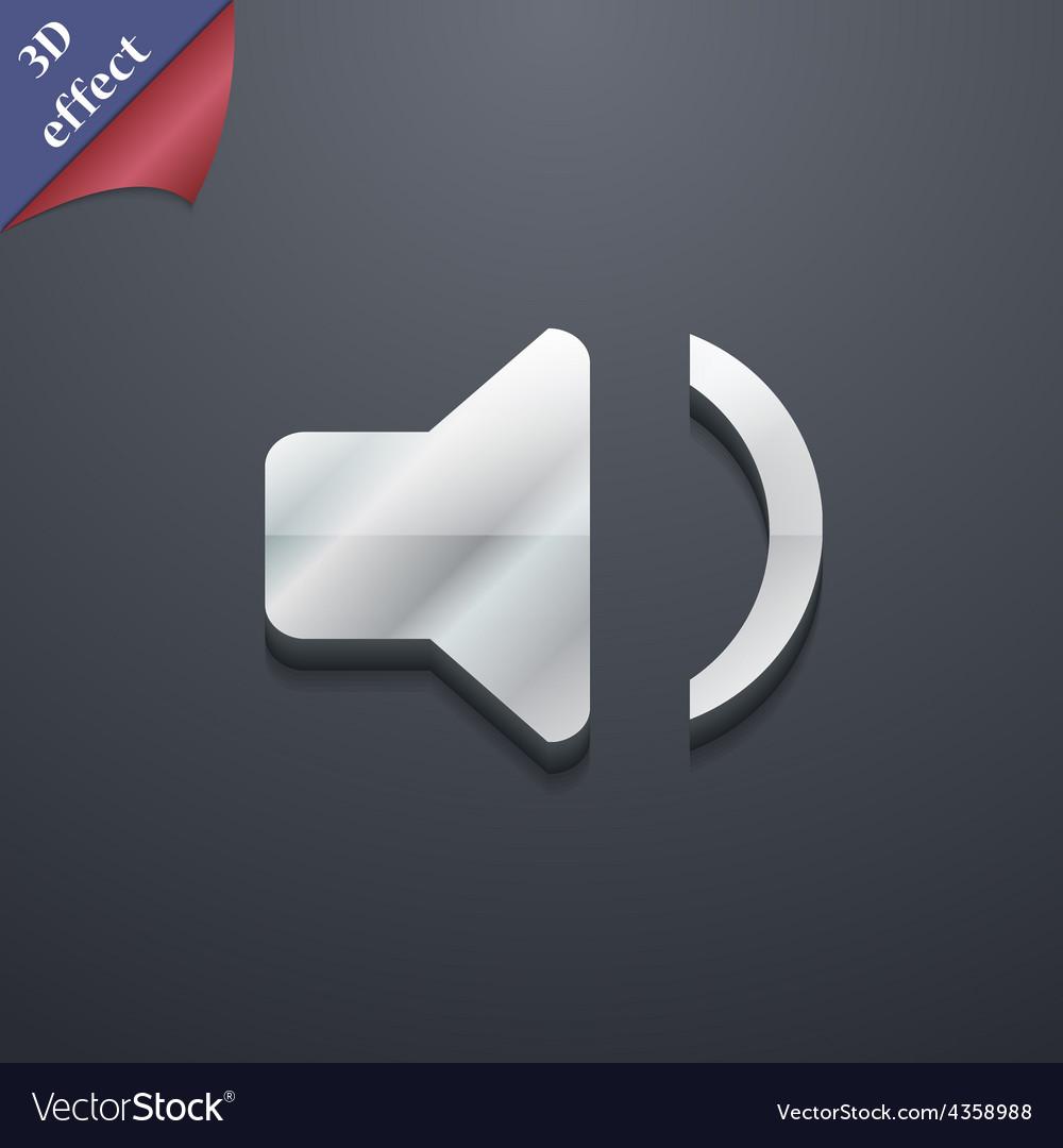 Speaker volume sound icon symbol 3d style trendy vector