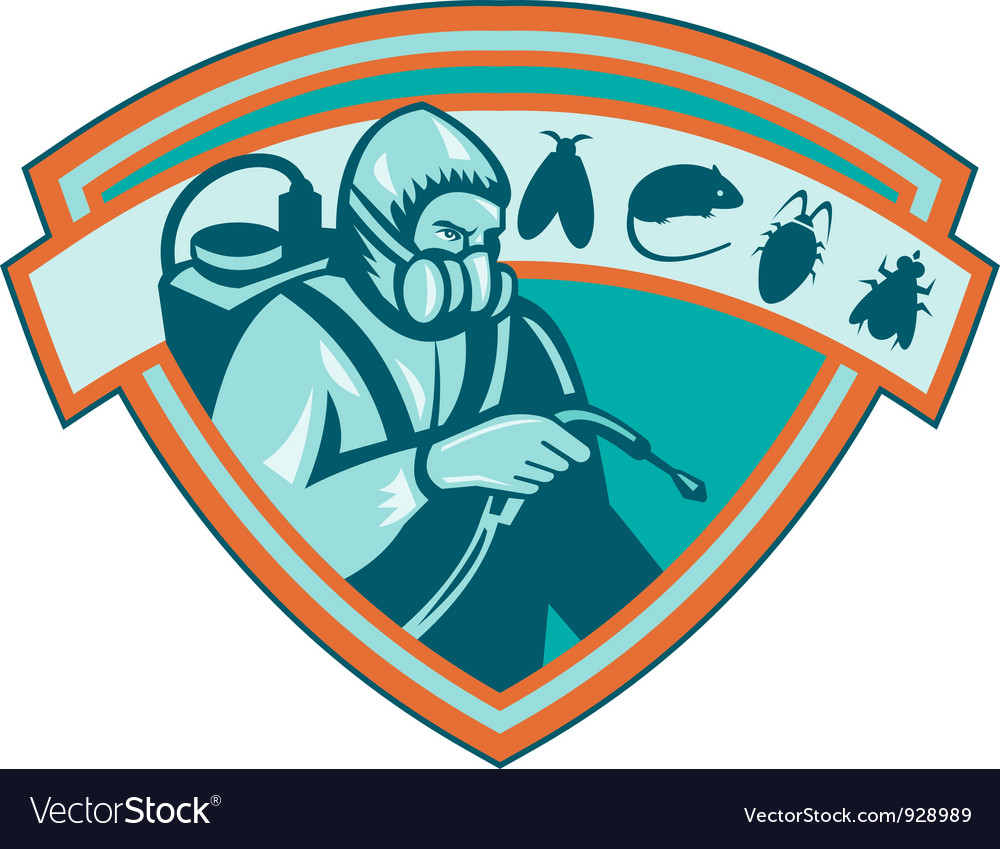 Pest control exterminator worker shield vector