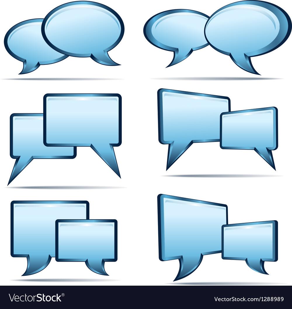 Silver blue 3d and 2d speech bubbles vector