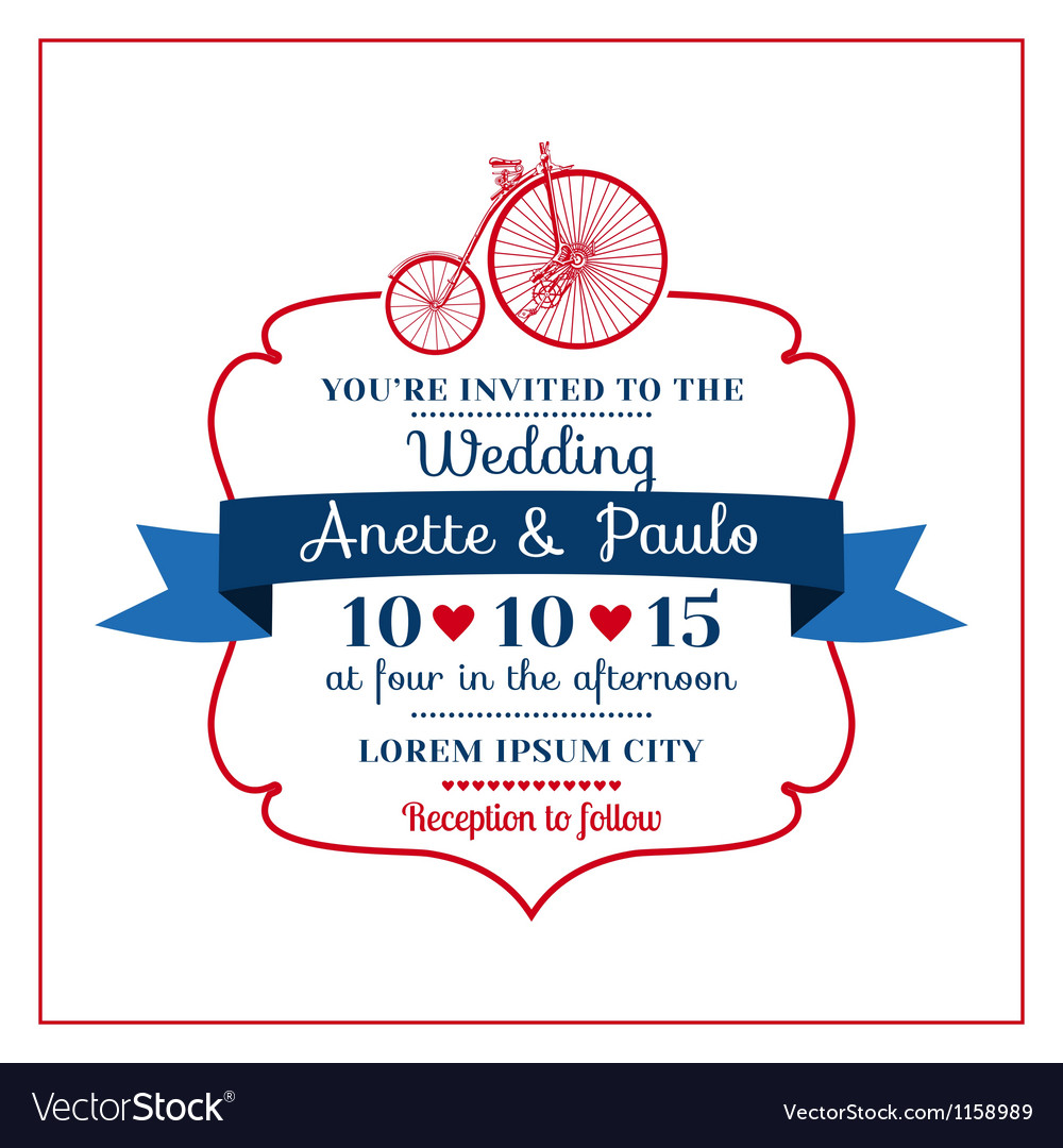 Wedding invitation card -vintage bicycle theme vector