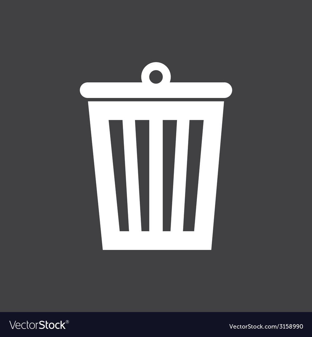 Bin icon on dark vector