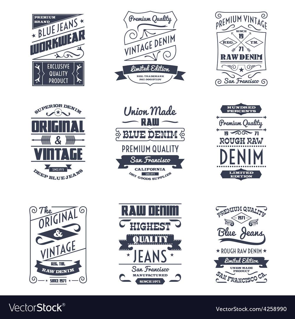 Denim typography logo emblems set vector