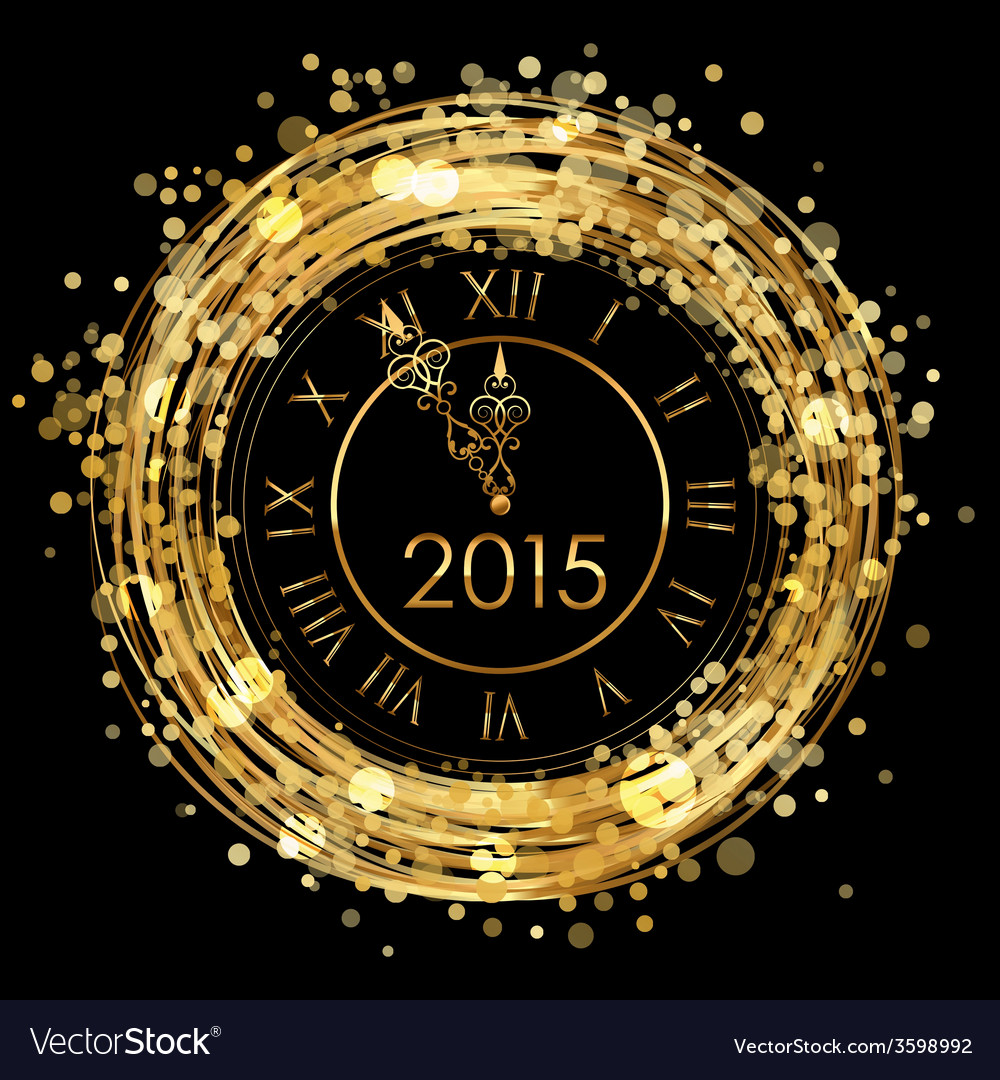 2015 - shiny new year clock vector