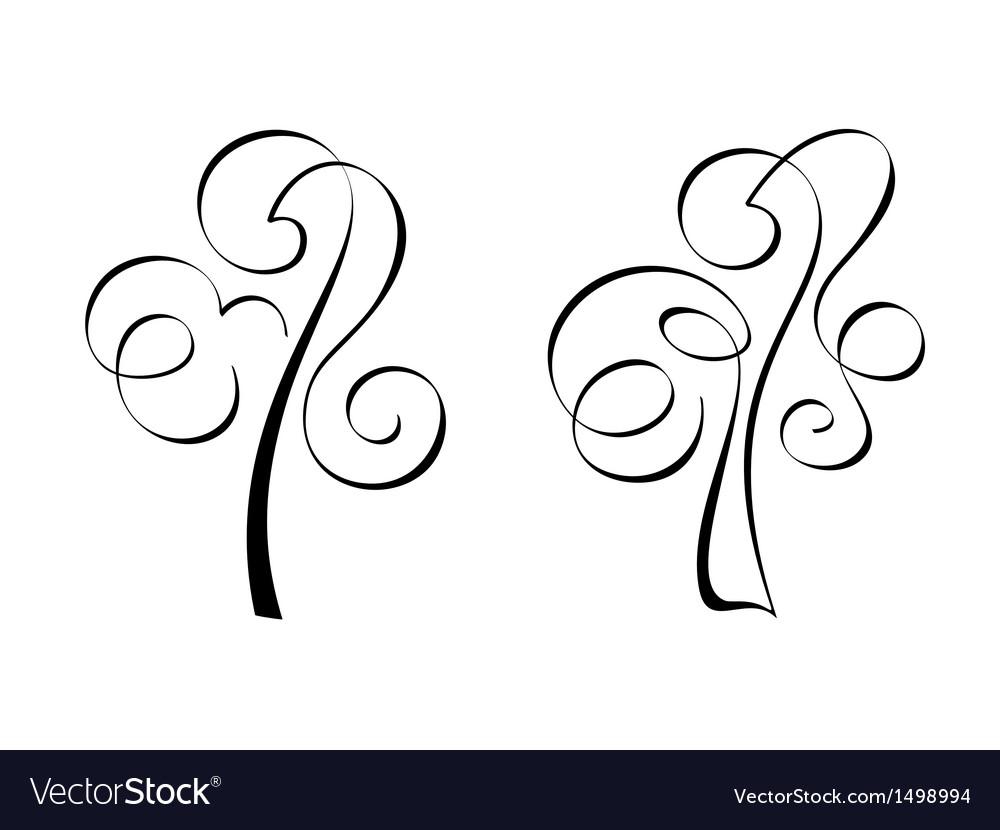 Calligraphic trees vector