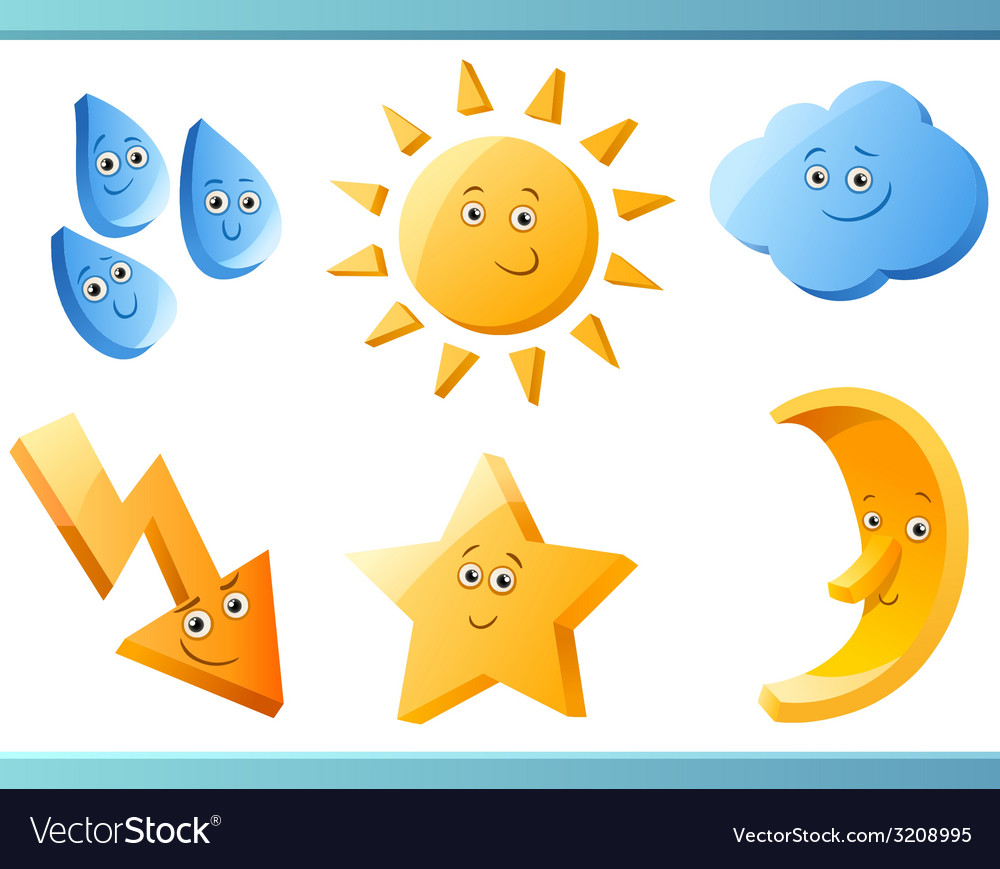 Nature or weather cartoon elements vector