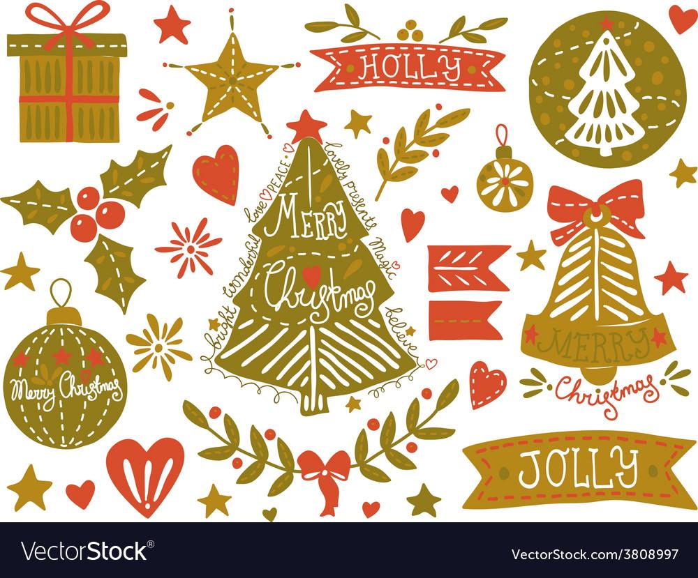 Christmas sketchy set vector