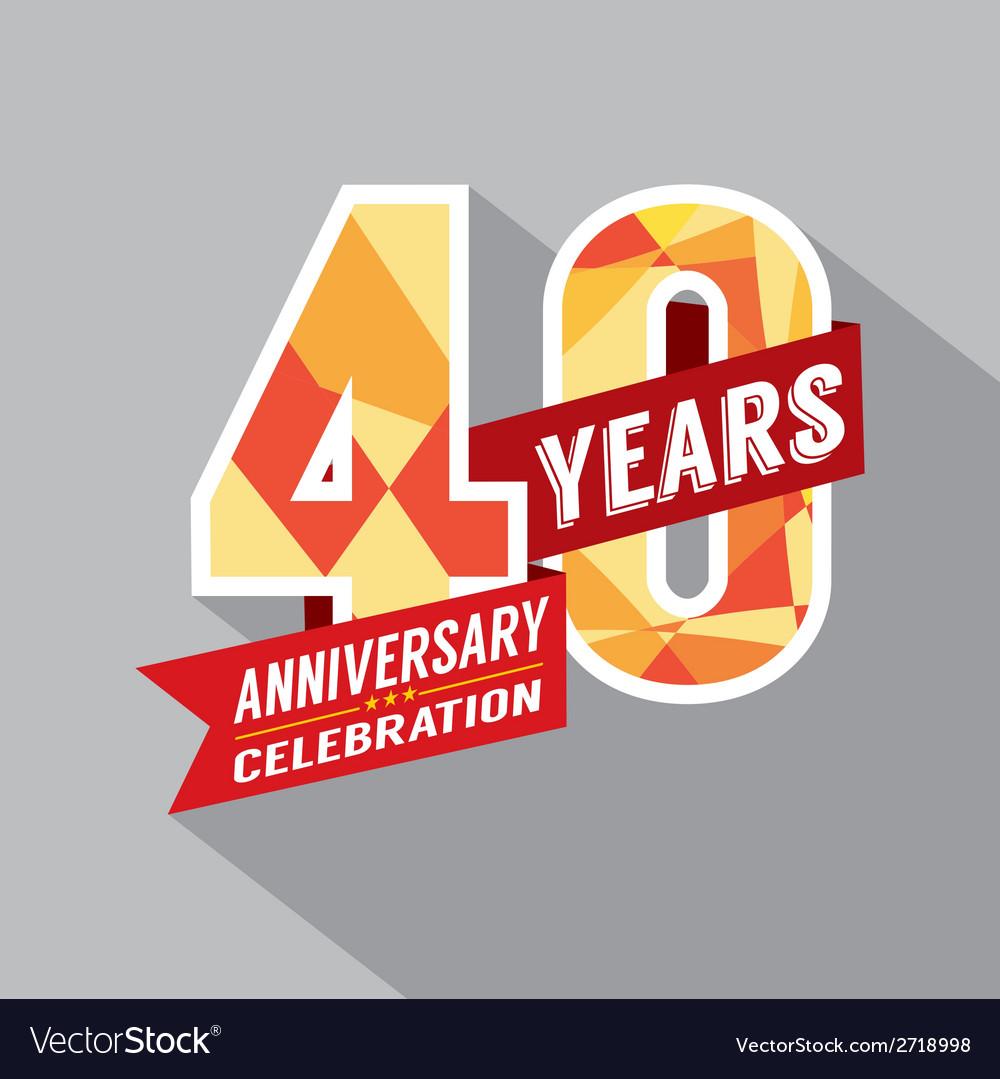 40th year anniversary celebration design vector