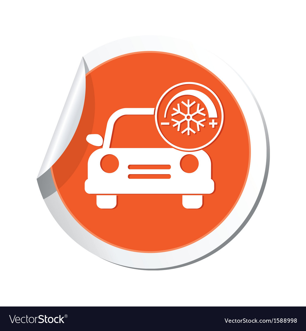 Car with air conditioner icon orange label vector