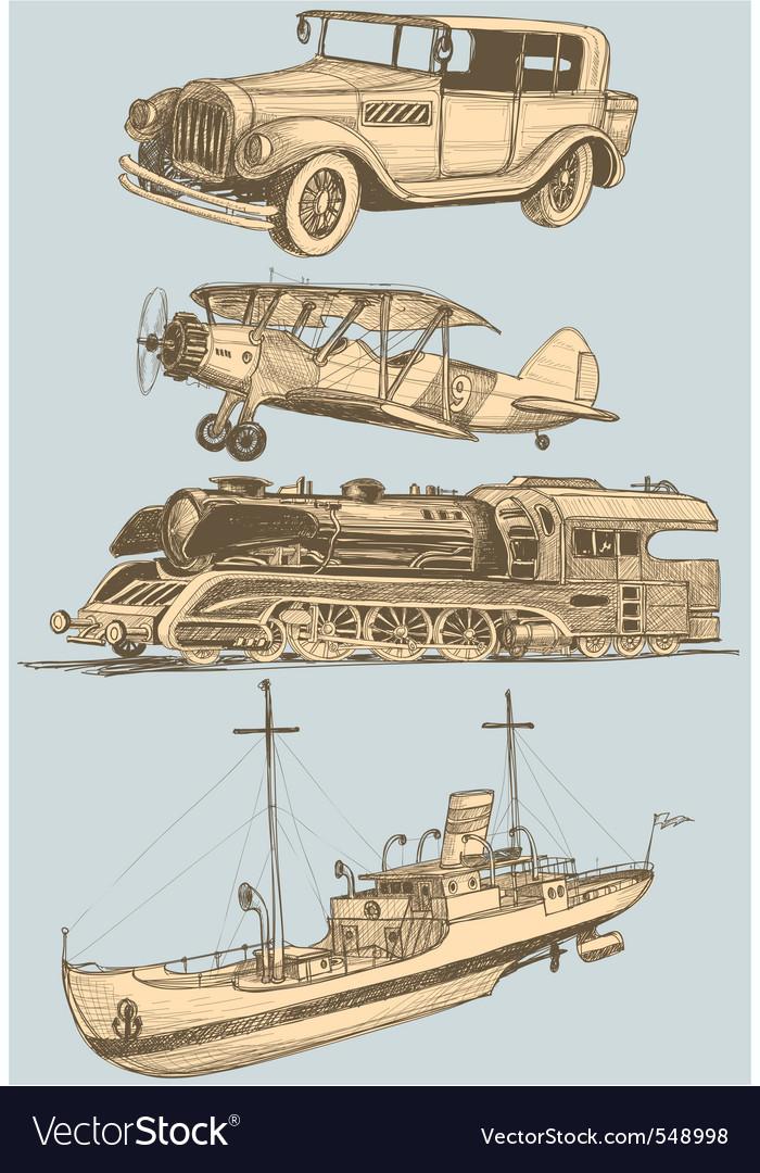 Retro transport set vector