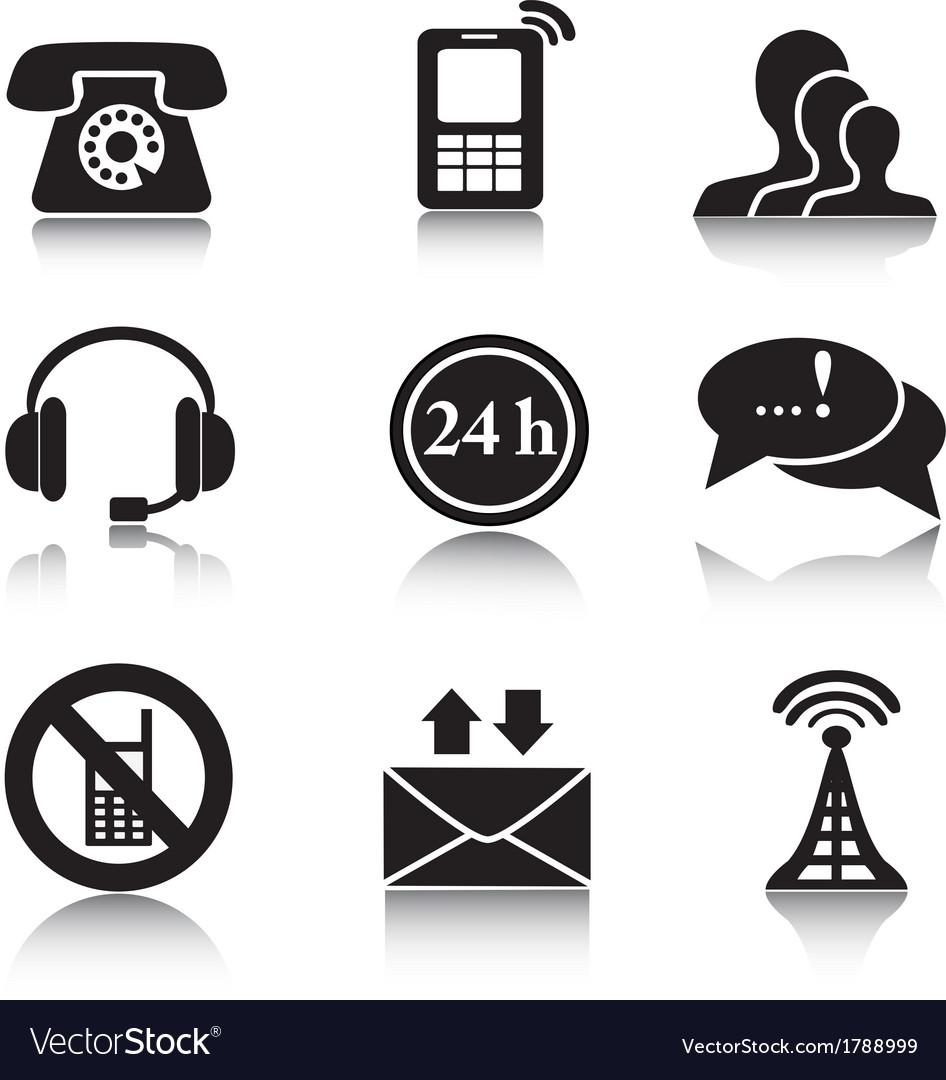 Contact black icons set vector