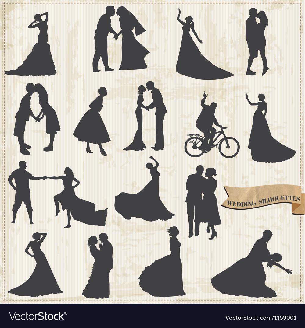 Vintage wedding silhouettes - bride and groom vector